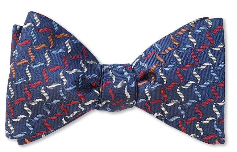 Fabyan Whirligig Navy woven bow tie