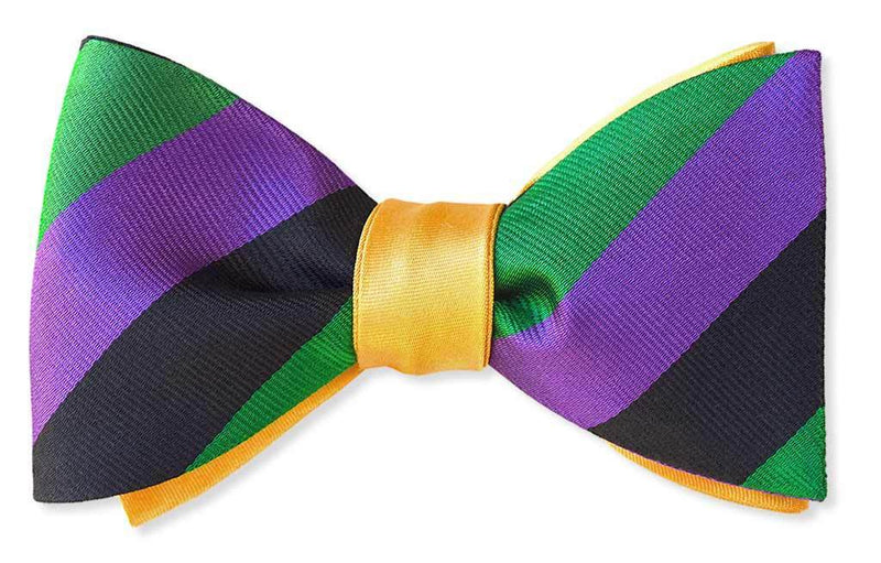 Fat Tuesday Mardi Gras Reversible Stripe Bow Tie