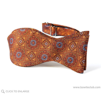 self tie orange medallion bow tie