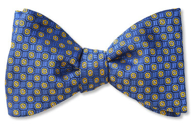 Flexen Pass Blue Woven Bow Tie already tied