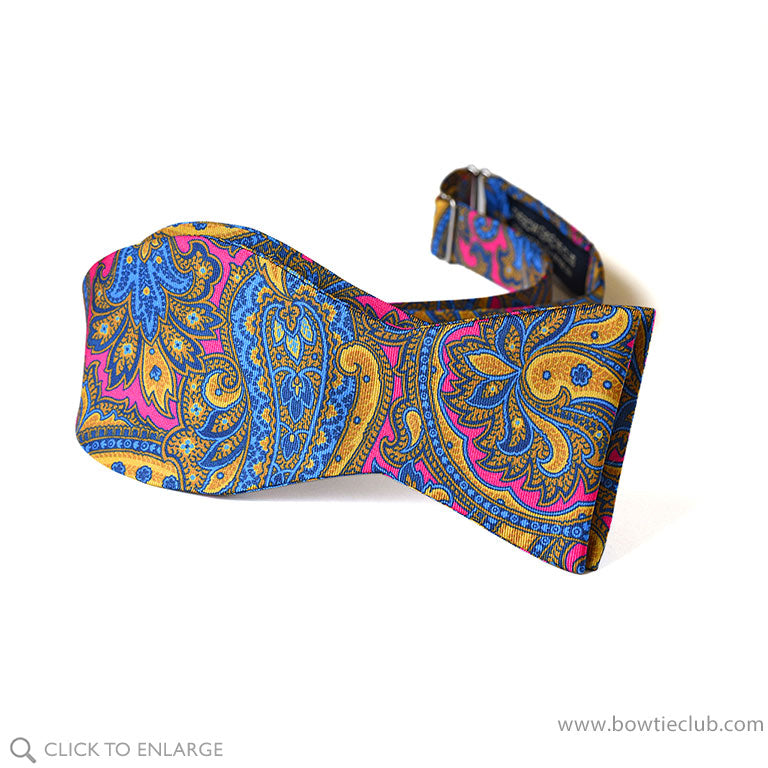 Fragonard Pink, Blue and Gold Printed Paisley Bow Tie In Italian Silk Twill pre-tied