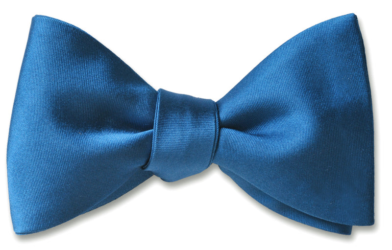 French Blue Satin Bow Tie