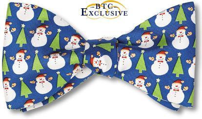 bow ties christmas snowmen holiday blue american made