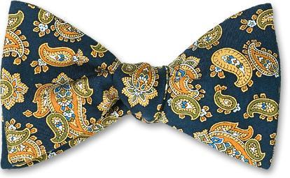 Navy Paisley Silk Bow Tie American Made