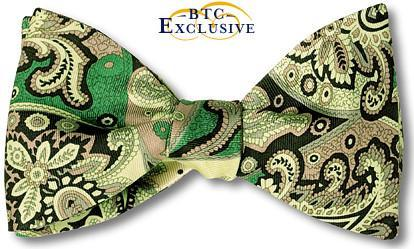 Green Paisley Silk Bow Tie American Made