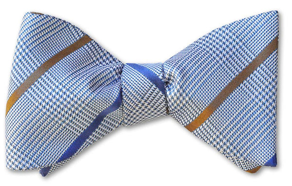 Blue Glen Plaid and Striped Bow Tie