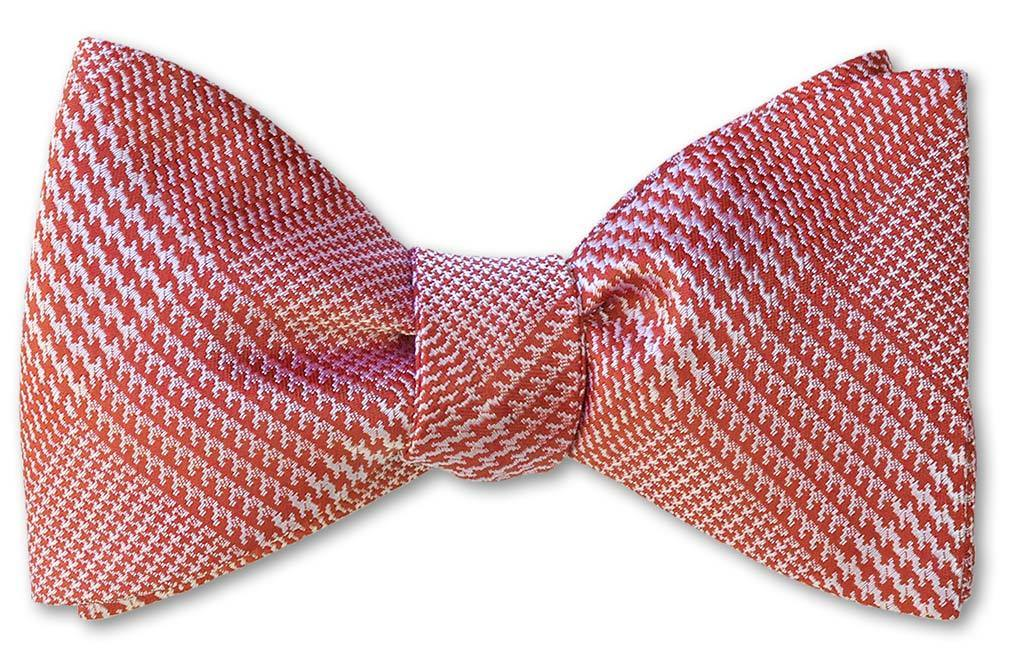 pretied bow tie in red glen plaid woven silk