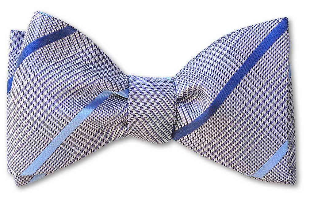 pre-tied purple glen plaid bow tie