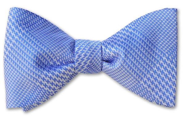 pretied blue glen plaid woven silk bow tie