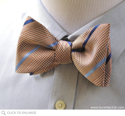Brown Glen Plaid Silk Bow Tie