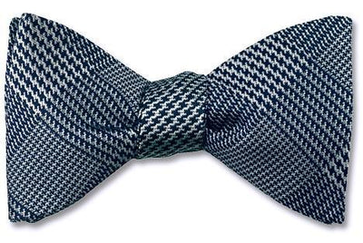 Blue Glen Plaid Silk Woven Bow Tie, self-tie, pre-tied