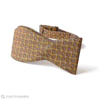 tie your own gold leaf teardrop woven silk bow tie from The Bow Tie Club