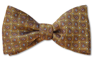 Gold Leaf pre-tied teardrop bow tie gold red blue and white