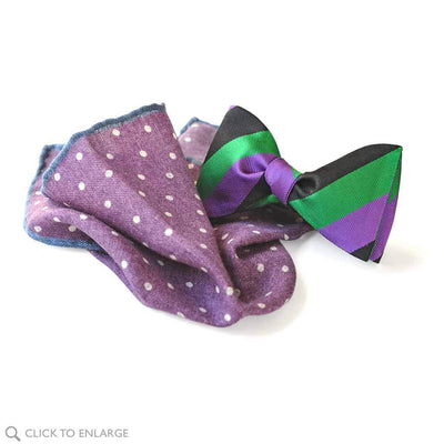 purple wool pocket square with striped bow tie