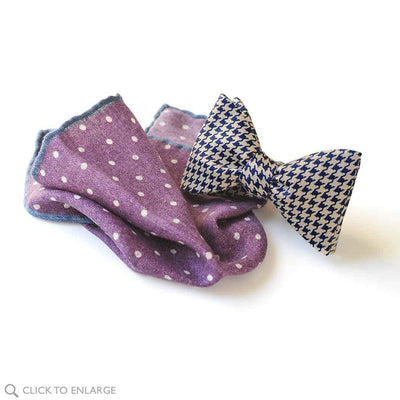 houndstooth bow tie paired with purple wool pocket square