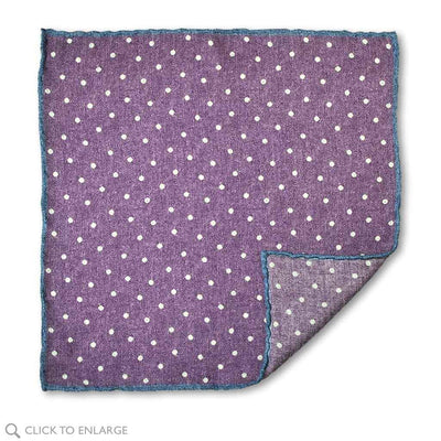 Purple Polka dot wool pocket square
