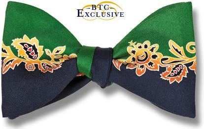 bow ties designer american made flower vine green black silk