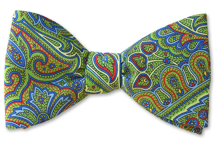 Green Paisley Cotton Designer Bow Tie