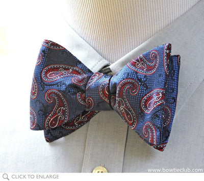 blue paisley bow tie on shirt