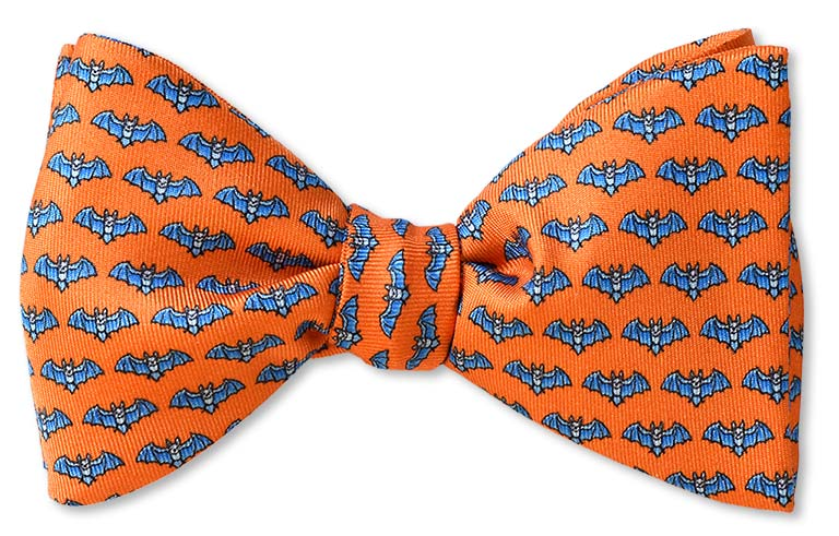 Orange Halloween Bat Bow Tie