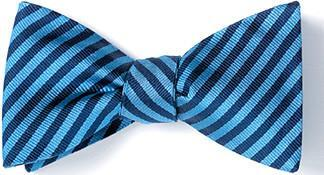British Woven Stripes Silk Bow Tie Blue Navy