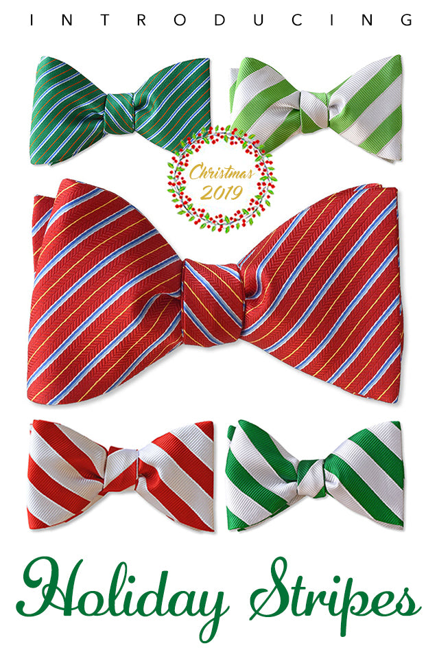 Candy Cane Stripe bow tie in mint green and white