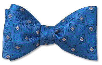 Pre-tied Hudson Woven Blue and Teal Dapper bow tie.