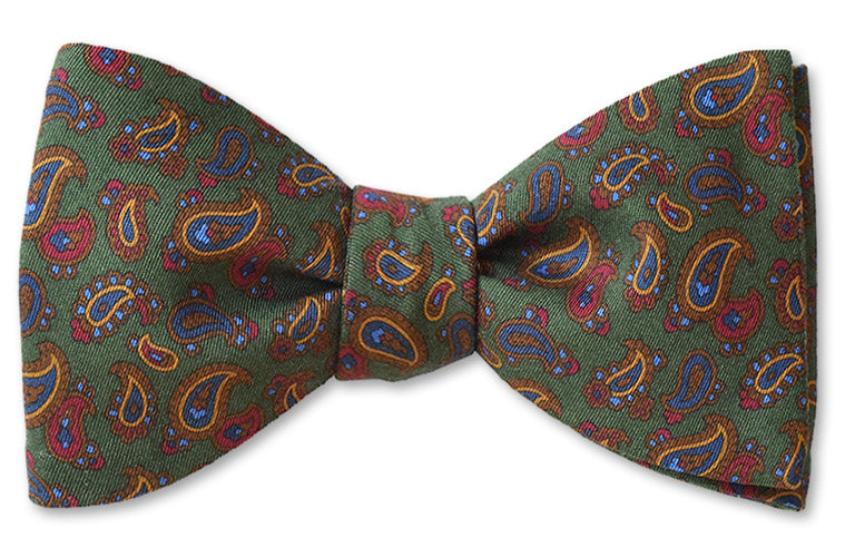 Hunter Green Paisley Cotton Bow Tie