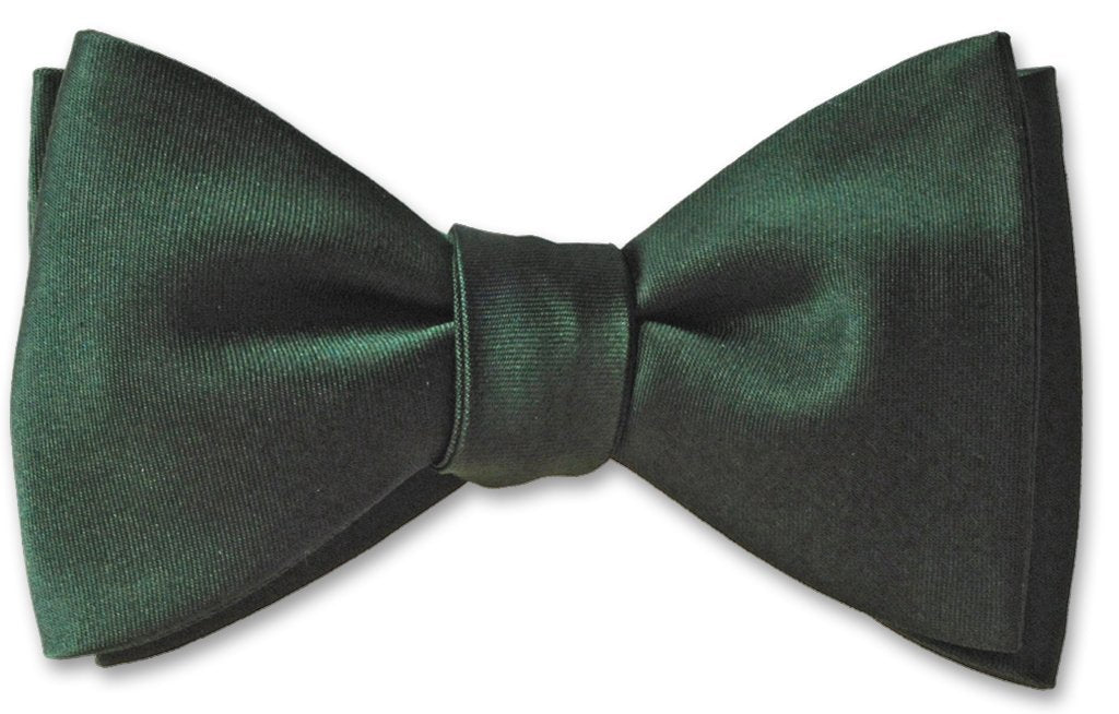 Hunter Green Formal Wedding Silk Solid Bow Tie