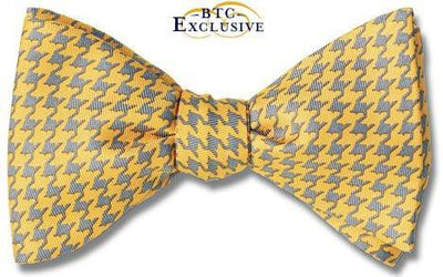 Icarus Yellow Grey Bow Tie Silk Houndstooth American Made