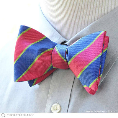 British Repp pink and blue bow tie on shirt