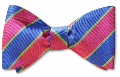 Pink and blue British Repp pre-tied bow tie