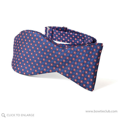 self tie navy red floret bowtie