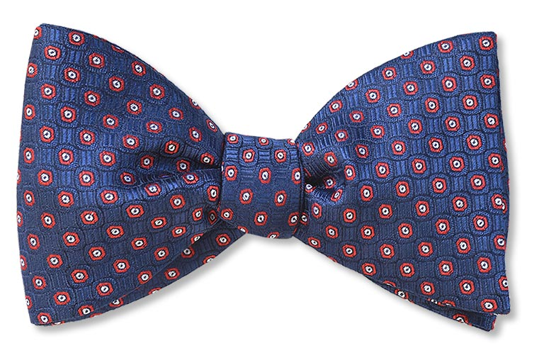 pretied navy red floret woven silk bow tie