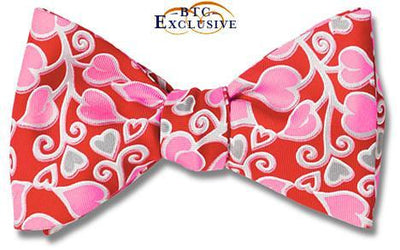 Hearts Valentine's Day Silk Bow Tie