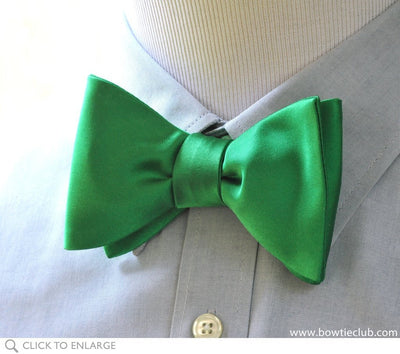 Kelly Green Satin Bow Tie