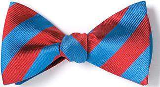 bow ties american made blue red stripes silk