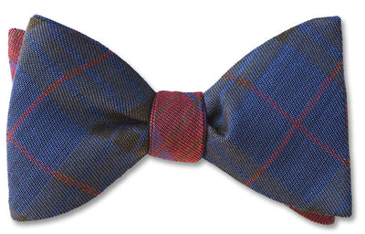 Two sided Kettlewell British Woven Wool Bow Tie In Brown, Red, Green and Purple.