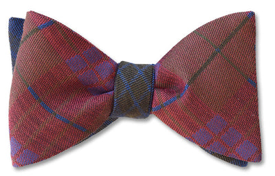 Reversible Kettlewell British Woven Wool Bow Tie In Brown, Red, Green and Purple.