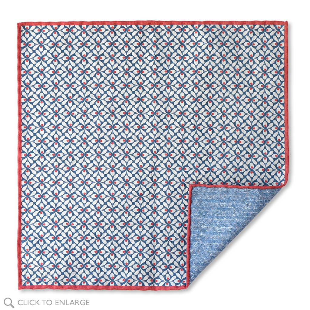 Blue Floral Double-Sided Pocket Square Made In Como Italy.