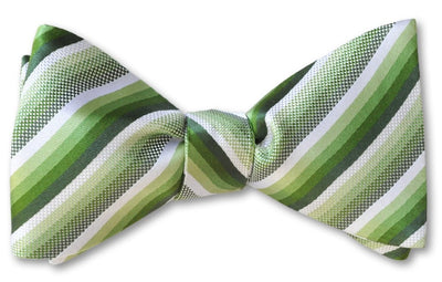 Pretied Green Stripe Bow Tie