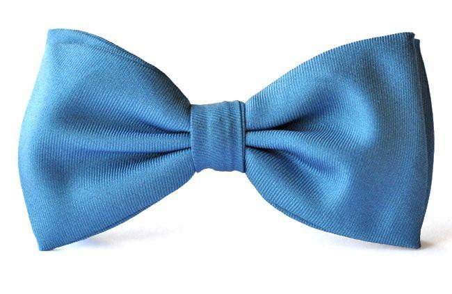 Kids Blue Silk Clip-on Bow Ties