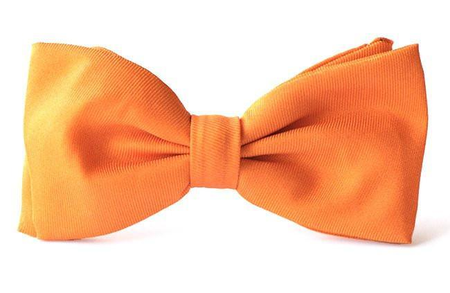 Bow Ties Kids Boys Orange Tangerine Silk Clip-on
