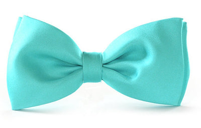 Clip on bow ties kids boys turquoise silk