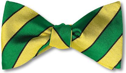 British Woven Stripes Silk Bow Tie Green Yellow