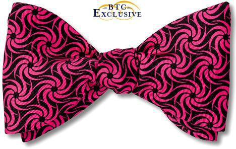bow ties designer american made swirl pink black silk