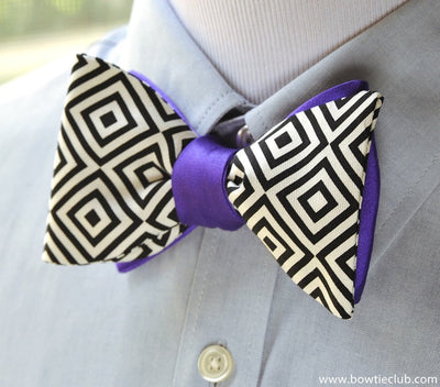 two sided purple bow tie