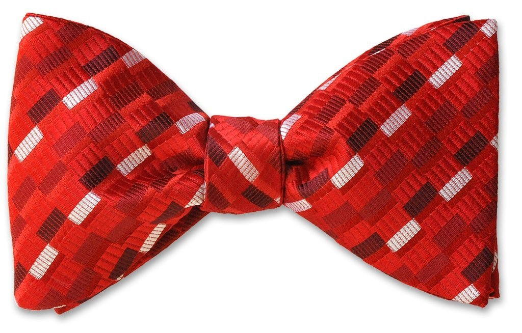pre-tied Leiden Red Woven Silk Bow Tie