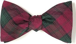 tartan plaid red bow tie
