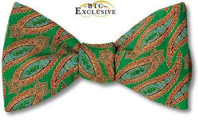bow ties paisley green silk american made